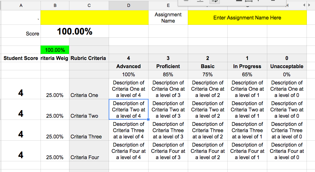 Google sheets rubric template teacher tech for Rubric template maker