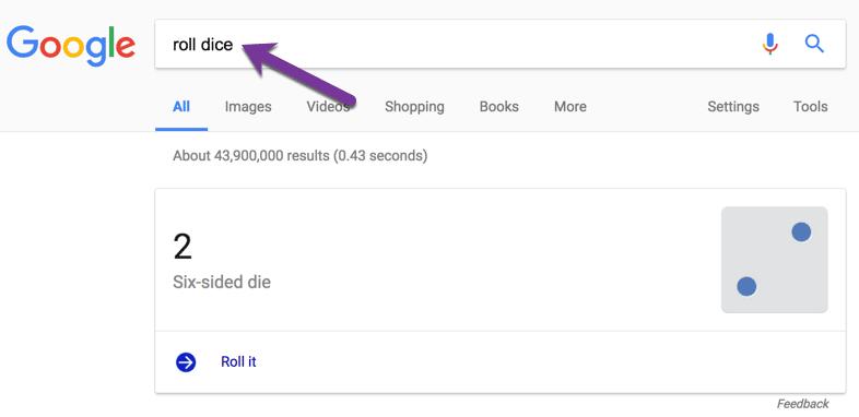 Roll Six Sided Die in der Google-Suche